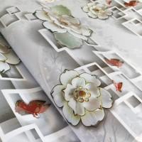 Grosir Wallpaper Sticker Dinding Kotak Bunga 3D