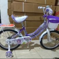 sepeda anak perempuan mini 18 evergreen daisy purple sepedamurah78