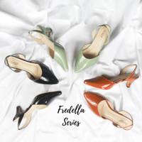 FREDELLA by QUINCE - heels wanita glossy sepatu wanita glossy sintetis - Olive Mint, 37