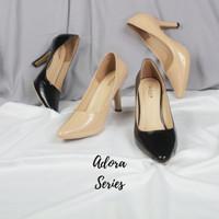 Adora by Quince - sepatu pantofel wanita high heels glossy 9cm - 37, Hitam