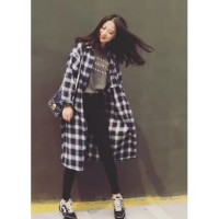 Kemeja Long Wanita Flanel Kotak KotakAtasan Kekinian Fashion Korea