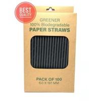 Sedotan Kertas/Paper Straw 6.0x197MM Hitam (Food Grade)
