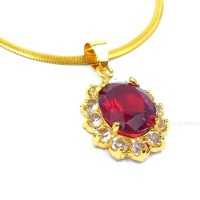 Kalung Titanium Liontin Batu Ruby