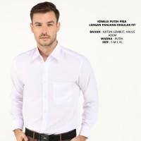 Kemeja Putih Pria Lengan Panjang Reguler Fit Bahan Katun Premium - M