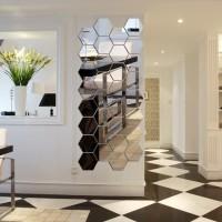Stiker Cermin Mirror wall stiker Hiasan dinding acrylic Hexagonal impo