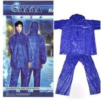 Jas Hujan Set Ghana Setelan Jaket Celana PVC Lengan Panjang Mantel