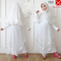 AGNES Gamis Putih Anak Perempuan Baju Muslim Syari Anak Lebaran 702