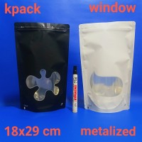 kemasan standing pouch klip window 18x29