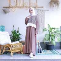 Mybamus Vallentino Stripe Dress Mocca M15353 R90S5