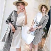 Midi Dress Lisa Model Korea Katun Kombinasi Salur Baju Casual Wanita