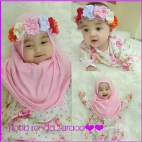 jilbab Bayi pita bunga mahkota bisa dilepas