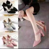 Sepatu sandal sendal wanita hak tahu big high heels suede hitam us 06
