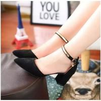 Sepatu sandal wanita hak tahu high big heels hitam abu suede ar01