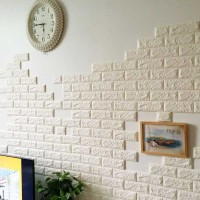 Wallpaper 3D Modern Foam Batu Bata Ukuran 70 X 77 Wall Sticker Putih