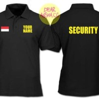 Polo Shirt Kaos Kerah Security Custom Black 1507 - Dear Aysha