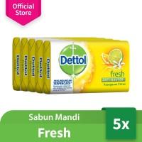 Dettol Sabun Batang Anti Bakteri Fresh 105 gr (5 Pcs) - Paket Hemat
