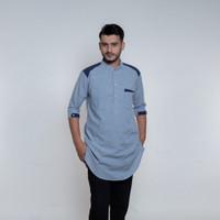 Baju Kurta Pria, Busana Muslim Pria, Baju Koko AD 2024 Biru Muda - XL