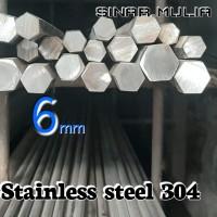 As segi enam / shaft hexagonal dia. 6mm stainless steel 304 / stenlis