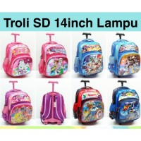 Tas sekolah Troli anak SD import Timbul Lampu Nyala 3 Resleting 14008 - Hello Kitty