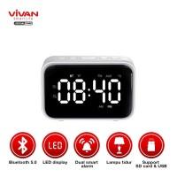 VIVAN VS5 Dual Smart Alarm Clock Bluetooth 5.0 Speaker with FM Radio