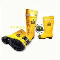 Sepatu Safety Boot Rubber Karet Kuning Gosave PVC Steel Toe Ujung Besi