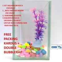 1 set aquarium mini kaca ukuran 15x10x10 untuk cupang dan ikan hias ke