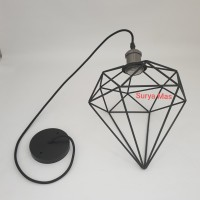 Kap lampu gantung Industrial+fitting kap gantung Diamond Vintage Cafe