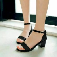 Sepatu wanita sandal sendal hak tahu big high heels hitam casual ad02