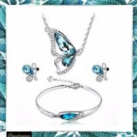 Set Perhiasan Wanita Kupu Kalung Gelang Anting SSPP2
