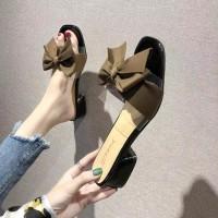 Sepatu sandal sendal wanita hak tahu big high heels selop hitam rh 03