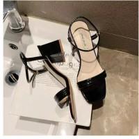 Sepatu sandal sendal wanita hak tahu big high heels hitam dns 23