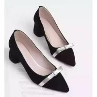 Sepatu kerja wanita hak tahu big high heels pantopel suede nd20