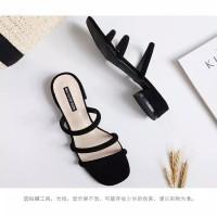 Sepatu sandal sendal wanita hak tahu high big heels hitam suede afc 02