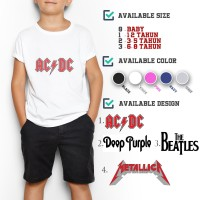 C/22 Kaos Anak Band The Beatles ACDC Deep Purple Metallica 0-8 Tahun - S, Putih