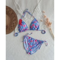 bikini set motif bra tali ikat baju renang swimwear wanita B3301