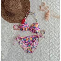 bikini set motif tali ikat baju renang pantai swimwear wanita B301
