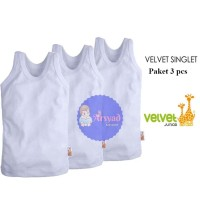 Singlet Bayi Velvet Junior / Kaos Dalam Bayi Lengan Kutung Lembut