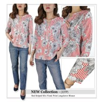 Blouse Wanita Branded- 25778- 23aa-sol- red striped mix floral