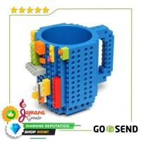 VKTECH Gelas Mug Lego Build-on Brick - 936SN - Biru