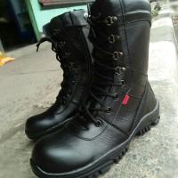 promo sepatu boots pdl tni pria bahan kulit sapi asli - Hitam, 39