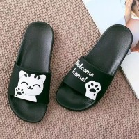 Sandal Wanita / Sandal Selop / Sandal Karakter Welcome Home Hitam