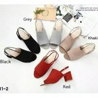 Sepatu sandal sendal wanita hak tahu big high heels suede sa 10