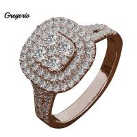 Borong Cincin Kawin / Tunangan Full Berlian Imitasi Bentuk Kotak