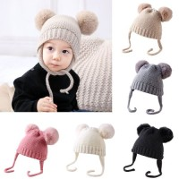Topi Kupluk Bayi / Anak Laki-laki / Perempuan Aksen Bola Bulu untuk