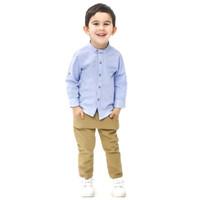 Kemeja anak bayi Oxford 1 - 10 Tahun lengan panjang blue jeans keren
