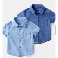 Kemeja anak bayi blue Jeans Polos 1 - 7 Tahun belel keren