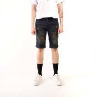 celana pendek jeans pria sobek / short skinny jeans ripped black
