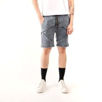 short skinny jeans thin brown stich / celana pendek jeans pria skinny