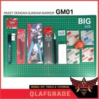 Paket Alat Rakit Gundam All in One A3 + Gundam Marker Black GM01