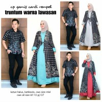 Batik Couple Kebaya Princess Murah / Sarimbit Dress / Kutubaru Pendek - Biru